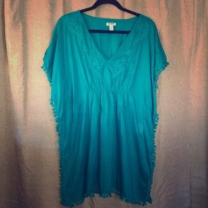 Old Navy teal caftan swim cover-up with pom-poms
